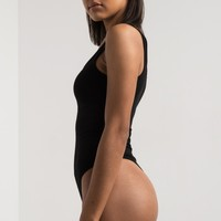 PAXTON Thick Strap Scoop Neck Snap Fastened Ribbed Bodysuit in Black