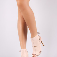Elasticized Straps Cutout Stiletto Booties