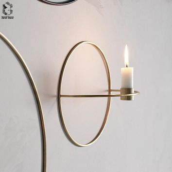 Nordic Candlestick Metal Wall Candle Holder Modern Sconce Matching Home Ornaments Elegant Wedding Christmas Decoration