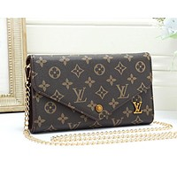LV Louis Vuitton New fashion monogram print leather chain shoulder bag women