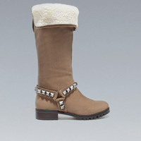 STUDDED WORKER BOOT - Trf - Shoes - Woman - ZARA United States
