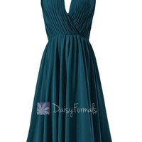 Ruched Short Dark Teal Formal Dress Chiffon Bridesmaid Dress W/Scoop Neckline(BM10826S)