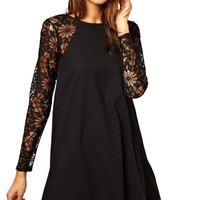 Lace Splicing Long Sleeve Dress
