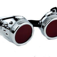 Silver Frame Red Lens Goggles Anime Cosplay Glasses