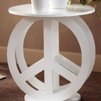Peace Sign End Table White
