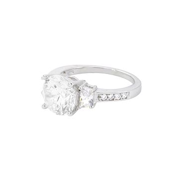 Three Stone Ring Sterling Silver 10mm Cubic Zirconia CZ with Rhodium