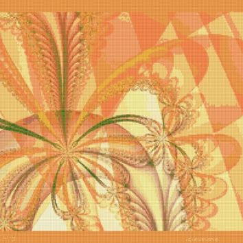 Tiger Lily Counted Cross Stitch Pattern Fractal Flowers Decor PDF