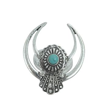 Southwestern Navajo Turquoise Crescent Naja Moon Ring