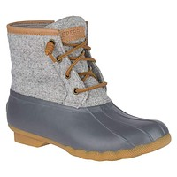 Women's Saltwater Wool Emboss Duck Boot in Dark Grey by Sperry