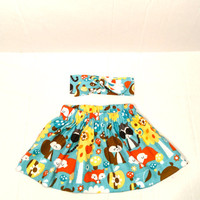 Toddler skirt, skirt with headband, fox skirt, little girls skirt, children's clothing, kids clothing, woodland animals