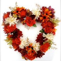 Cemetery Floral Heart Shaped Memorial Remembrance Wreath -  Fall floral stems, Personalized