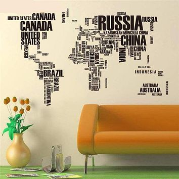 Map of the World Vinyl Wall Decals