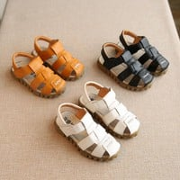 Summer Child Casual Shoes Male Female Soft Leather Sandals Baby Toe Cap Covering Boys PU Leather Sandals Kids Sneakers
