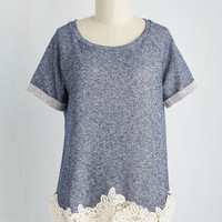 Mid-length Short Sleeves Came to Kick Back Top