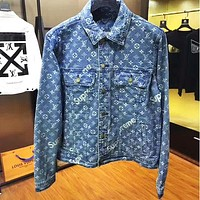 Louis Vuitton LV x Supreme Classic Stylish Distressed Denim  Cardigan Jacket Cowboy Coat