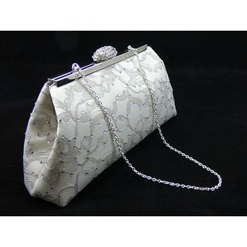 Ivory, Platinum Grey and Silver Rhinestone Clutch