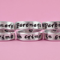 partners in crime - Hand Stamped Spiral Rings Set (3 rings), Friendship Rings, Best Sisters Ring, BFF Gift, Friends Forever Jewelry