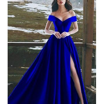 Fashion casual long dress with low shoulder and big swing