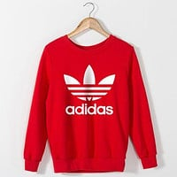 Adidas women's fashion casual long-sleeved sweater pullover F Red