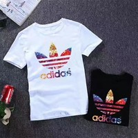 """""""Adidas"""" Unisex Sports Casual Multicolor Letter Clover Print Short Sleeve Couple T-shirt Top Tee"""