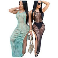 Women Sexy Knitted Halter Dress Cover Up Swimwear
