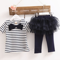 Cute Baby Kid Girl Tops Tee Shirt+Tulle Tutu Pant Skirt 2pcs Outfit Suit 3-7Y = 1946537476