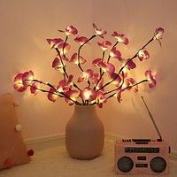 Phalaenopsis Tree Branch Light Floral Lights Home Christmas Party Garden Decor 20pcs LED Bulb Iron Wire IP44 Use AA Battery