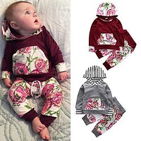 2016 Baby Girl suit Autumn Girls Clothing Sets Flower Newborn Baby Clothes Cute Baby hoodie Infant Girls Clothing