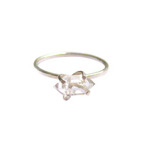Aoko Su Herkimer Diamond Ring - handmade in the USA in sterling silver and diamond