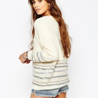 Stitch & Pieces | Stitch & Pieces V Neck Sweater with Stitch Detail on Hem and Cuff at ASOS