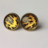 GOLD TIGER Earrings - Hand Painted Bronze or Silver Tone Studs Earrings - Fashion Jewelry - Plugs Earrings - Fake Plugs - Gift for her