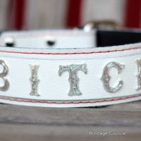 Bitch BDSM Collar, Submissive Collar, Leather Bondage Collar, Pet Play Collar, Off White Leather Choker, Bitch Leather Collar, Bitch Bondage