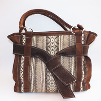 Handmade ladies leather handbag, tote bag with handwoven part
