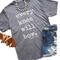 """""""Every Knee Will Bow"""" Gray Short Sleeve Graphic Printed T-Shirt Top"""