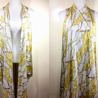 beige & yellow gold chain print long vest (free size), printed scarf vest, cascading cover up