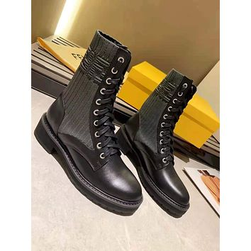 FENDI 2021 Trending Women's men Leather Side Zip Lace-up Ankle Boots Shoes High Boots10180xf