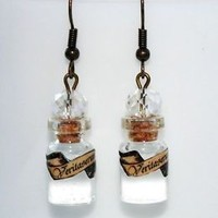 Veritaserum or Truth Potion Glass Bottle Earrings with clear resin. Harry Potter
