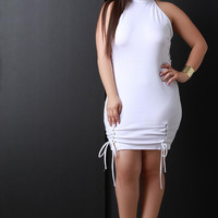 Mock Neck Corset Lace-Up Sleeveless Bodycon Mini Dress