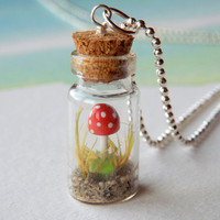 """FREE SHIPPING - Tiny mini mushroom in a miniature bottle necklace  - gnome mushroom necklace with 18"""" 1.5mm silver ball chain"""