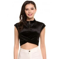 Casual Stand Collar Cap Sleeve Solid Lint Shining Color Crop Top