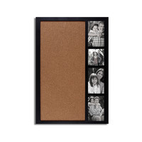 """Adeco Decorative Black Wood Wall Hanging Collage Picture Photo Frame with Bulletin Board, 4 Openings, 4x4"""", 4x6"""""""