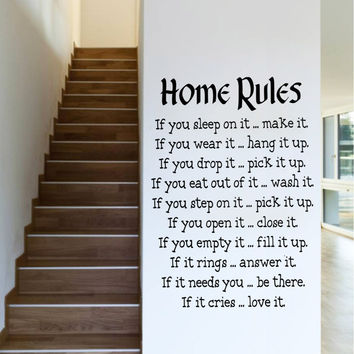 """Characters """"Home Rules """"wall stickers home decor decals decoration Characters  NEW Removable Living Room PVC 57*81CM SM6"""