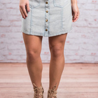 Save Me Chambray Skirt, Light Blue