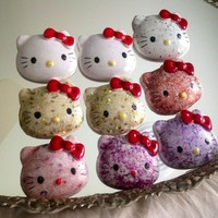 Hello Kitty Sparkle Embellished Resin Cabochon, Make A Reel or Pendant