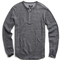 Long Sleeve Thermal Henley in Heather Charcoal