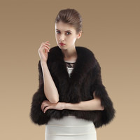 New Real Knit Mink Fur Poncho With Fox Trimming Shawl Fashion Women Genuine Mink Fur Jacket TPPM0001 = 1958087236