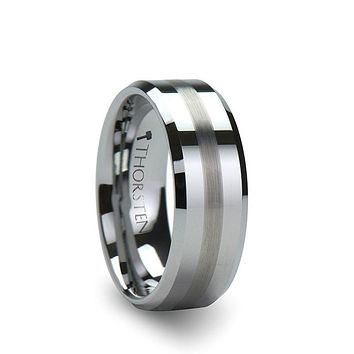 GRENOBLE Flat Beveled Tungsten Wedding Band with Brushed Stripe – 6mm or 8mm