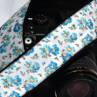 dSLR Camera Strap.Floral Camera Strap. White and Blue Camera Strap