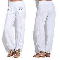 fhotwinter19 New style casual loose button-decorated low-waist wide-leg pants