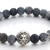 Blue Gray Natural Stone Bracelet with Silver Lion